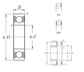 140 mm x 210 mm x 33 mm  KOYO 6028-2RU Cojinetes de bolas profundas