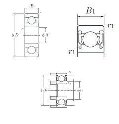 4 mm x 13 mm x 5 mm  KOYO 624-2RU Cojinetes de bolas profundas