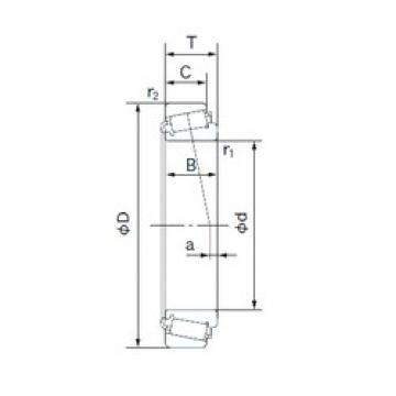 22.225 mm x 57.150 mm x 22.225 mm  NACHI H-1280/H-1220 Rodamientos De Rodillos Cónicos