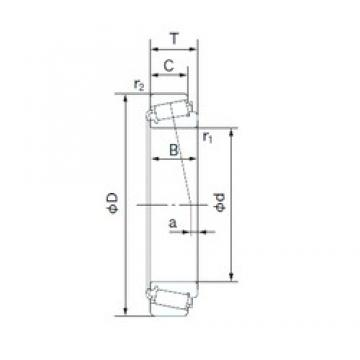 44.450 mm x 95.250 mm x 28.301 mm  NACHI 53176/53375 Rodamientos De Rodillos Cónicos